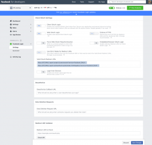 Facebook App Login Configuration Page