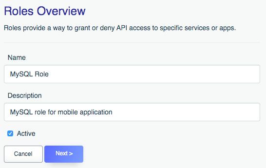 Defining a MySQL API role