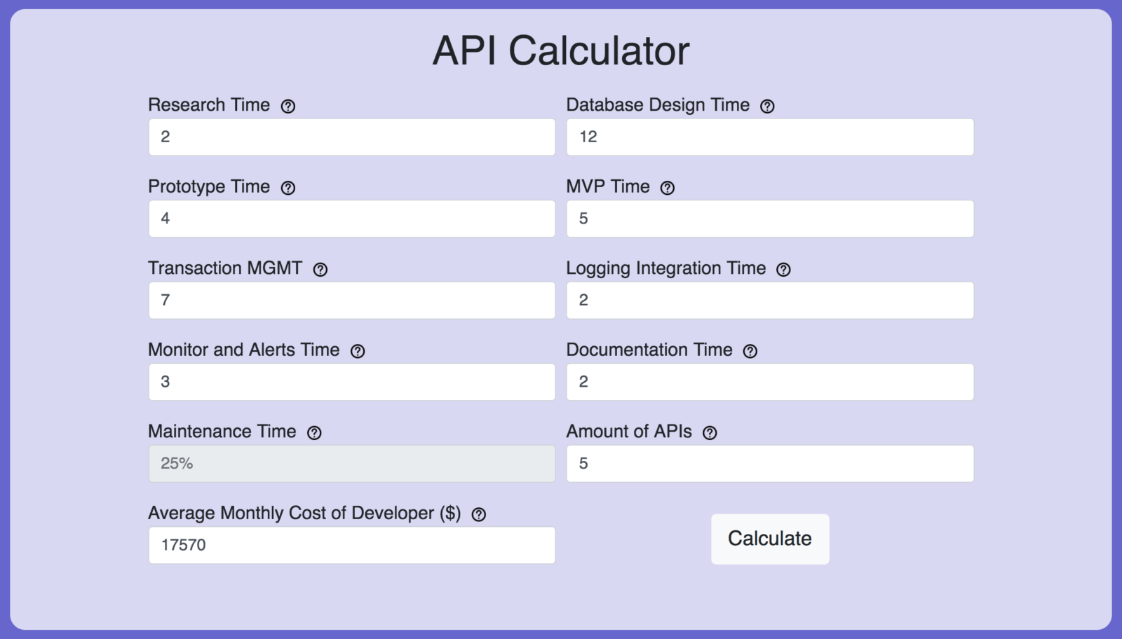 Click here to use our interactive API calculator