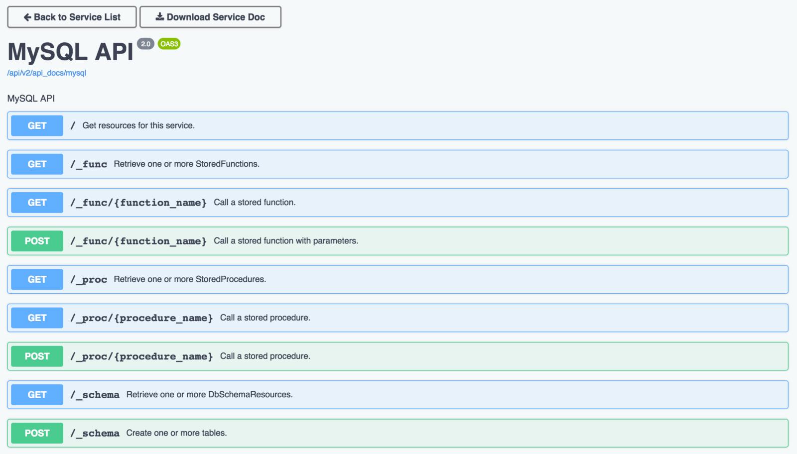 The DreamFactory API Docs interface