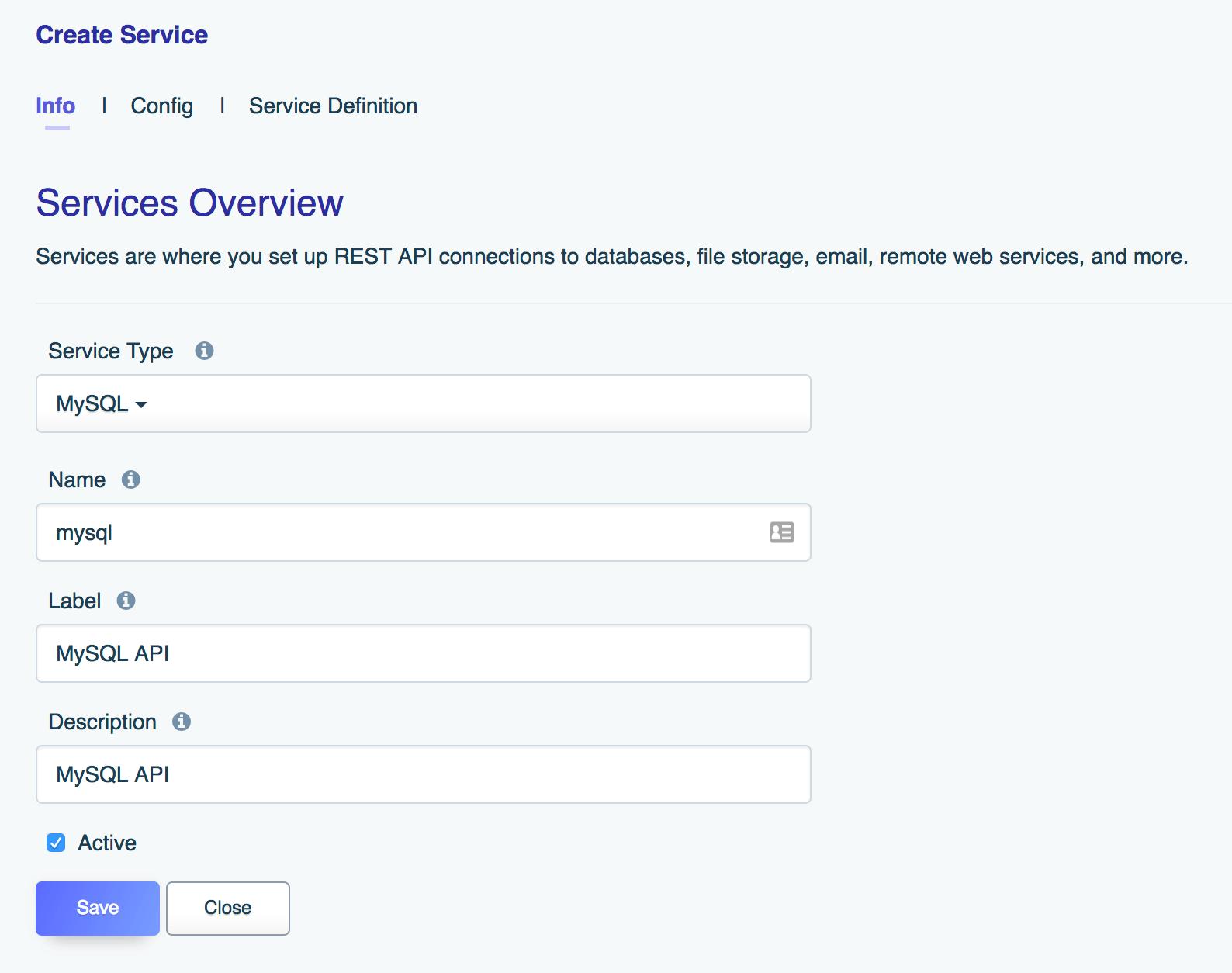 The DreamFactory info tab