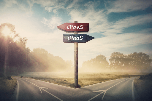 Two signs both pointing towards iPaaS solutions