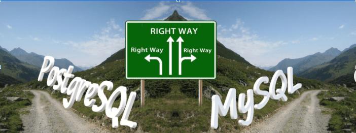 Fork in the road showing PostgreSQL vs. MySQL