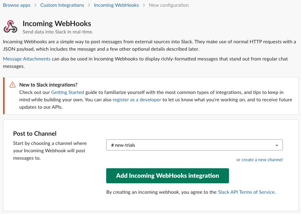 Add incoming WebHooks app