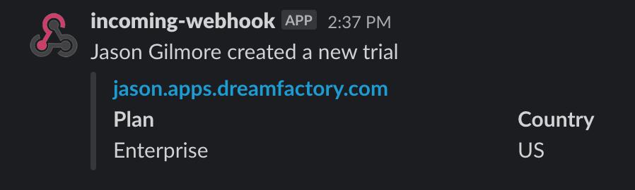 Slack confirmation message