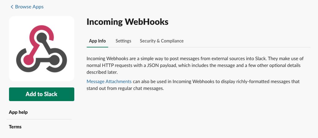 Incoming WebHooks app