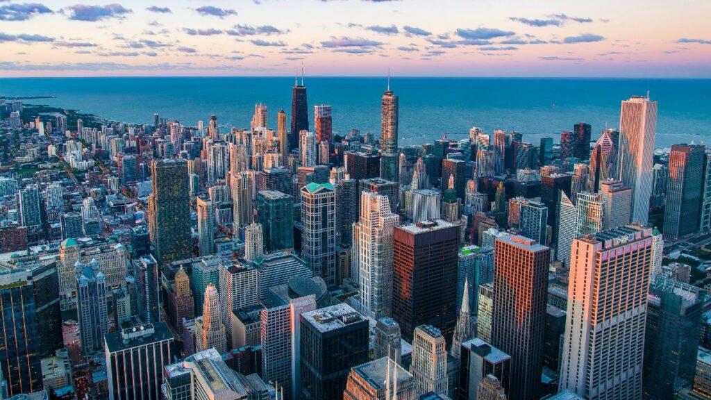 City landscape with enterprise buildings