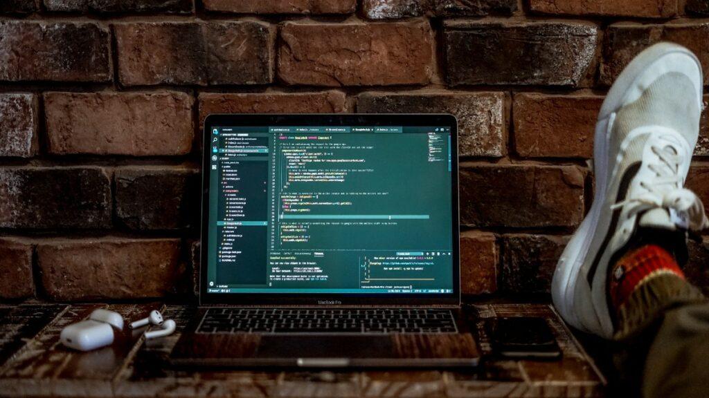 Computer displaying no code tools on screen
