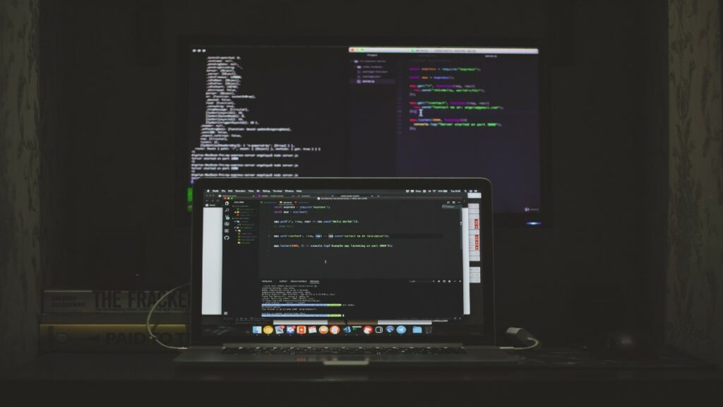 computer screens showing no code