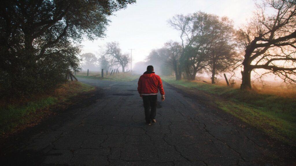 Man walking on digital transformation road