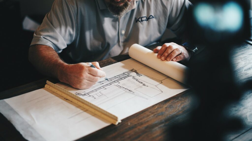 Architect studying a composable enterprise drawing