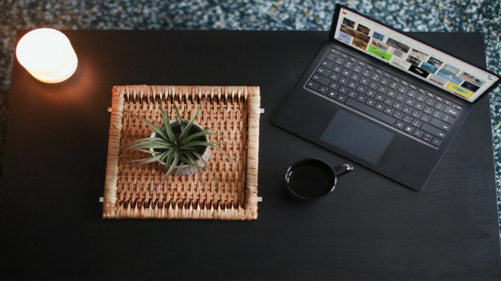 Laptop on desk displaying composable enterprise