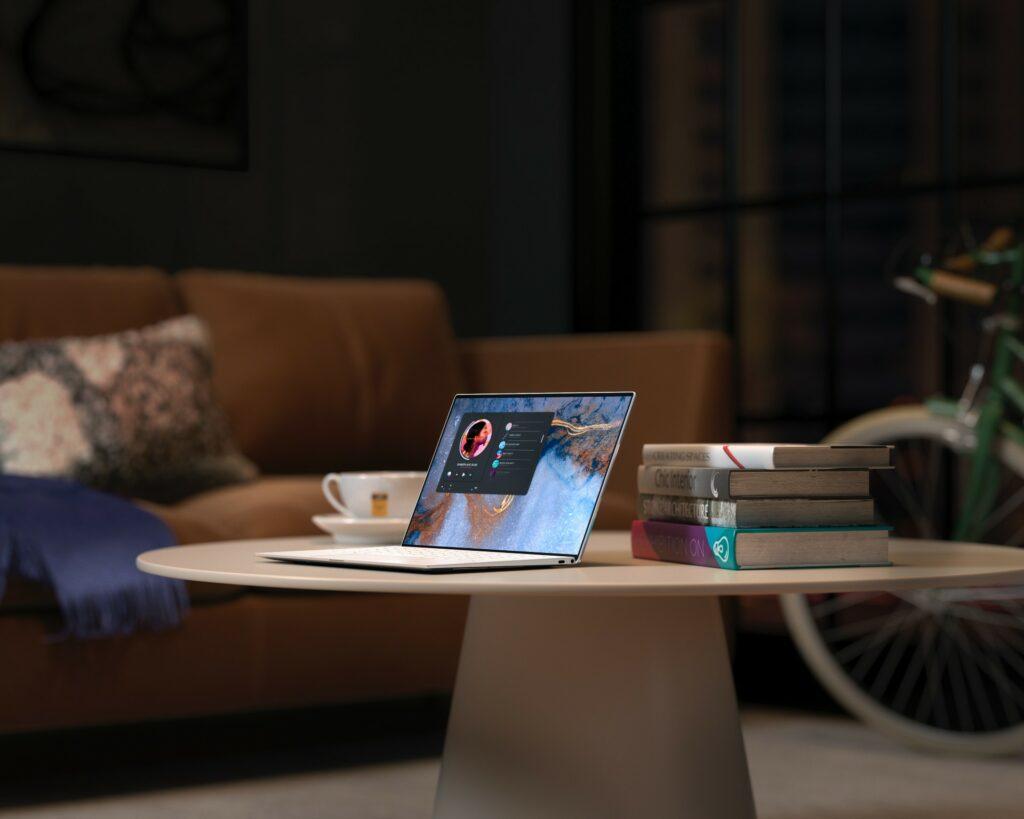 Computer on table displaying reusable API