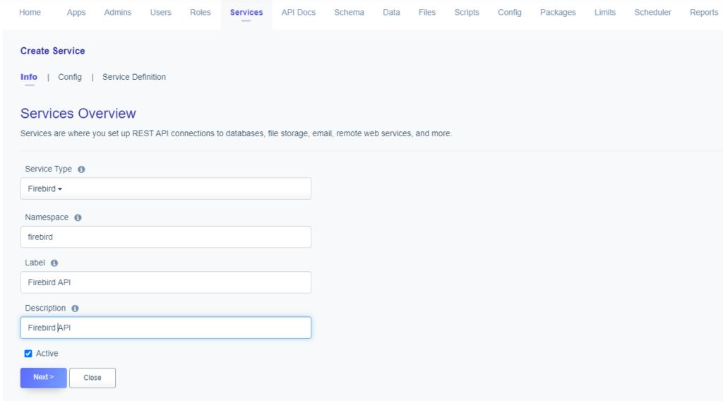 Service naming: creating a Firebird API