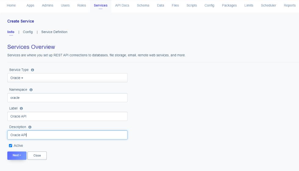 Oracle API - Service Naming