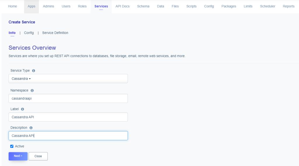 Service naming: Cassandra DB API
