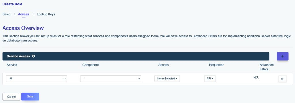 DreamFactory's role-based access control configuration screen